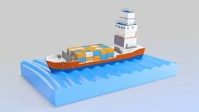 Vrachtschipzeilen over de Oceaan Mijn eigen ontwerp 3d van uitstekende kwaliteit geeft terug royalty-vrije illustratie