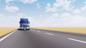 Vrachtvrachtwagen bij de lege 3D animatie van de woestijnweg royalty-vrije illustratie