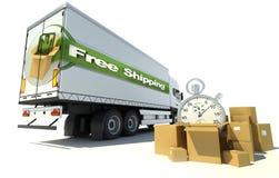 Vrachtwagen, de vrije verschepende dringende dienst Stock Foto's