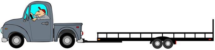 Vrachtwagen die een lege aanhangwagen trekken Royalty-vrije Stock Foto's