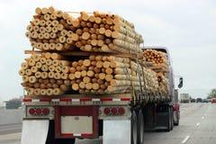 Vrachtwagen die Hout Vervoer Royalty-vrije Stock Foto