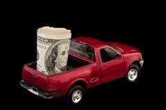 Vrachtwagen die met Contant geld wordt gevuld Stock Fotografie