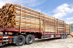 Vrachtwagen die met houten stralen wordt geladen Royalty-vrije Stock Afbeeldingen