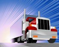 Vrachtwagen die onderaan de weg daveren Royalty-vrije Stock Fotografie