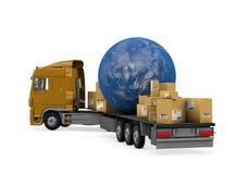 Vrachtwagen die pakketten en de aarde vervoert Stock Fotografie