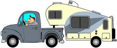 Vrachtwagen en 5de wielaanhangwagen Stock Afbeeldingen