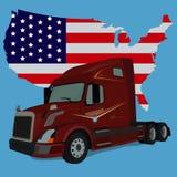 Vrachtwagen en Amerikaanse vlag, vectorillustratie Stock Afbeelding