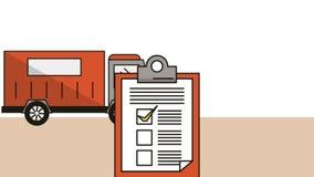 Vrachtwagen en controlelijst de animatie van de leveringsdienst vector illustratie