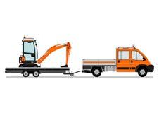 Vrachtwagen en graafwerktuig stock illustratie