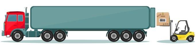 Vrachtwagen en Lader met Doos Geplaatste verzendingspictogrammen Stock Foto