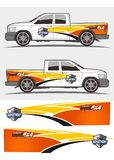Vrachtwagen en voertuig de Uitrustingenontwerp van de overdrukplaatjegrafiek royalty-vrije stock afbeeldingen