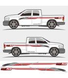 Vrachtwagen en voertuig de Uitrustingenontwerp van de overdrukplaatjegrafiek vector illustratie