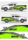Vrachtwagen en voertuig de Uitrustingenontwerp van de stickersgrafiek stock afbeeldingen