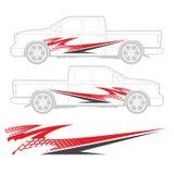 Vrachtwagen en voertuigoverdrukplaatje Grafisch ontwerp royalty-vrije stock afbeeldingen