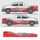 Vrachtwagen en voertuigoverdrukplaatje Grafisch ontwerp Stock Fotografie