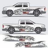 Vrachtwagen en voertuigoverdrukplaatje Grafisch ontwerp Royalty-vrije Stock Foto's