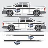 Vrachtwagen en voertuigoverdrukplaatje Grafisch ontwerp Stock Foto's