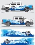 Vrachtwagen en voertuigoverdrukplaatje Grafisch ontwerp Stock Afbeeldingen