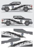 Vrachtwagen en voertuigoverdrukplaatje Grafisch ontwerp Royalty-vrije Stock Foto