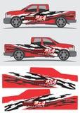 Vrachtwagen en voertuigoverdrukplaatje Grafisch ontwerp Royalty-vrije Stock Afbeelding