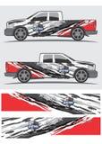 Vrachtwagen en voertuigoverdrukplaatje Grafisch ontwerp stock afbeelding