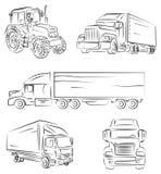 Vrachtwagen en vrachtwagen Stock Afbeelding