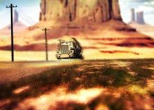 Vrachtwagen het drijven door de woestijn vector illustratie