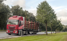 Vrachtwagen het drijven op een weg Royalty-vrije Stock Afbeelding