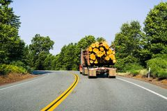 Vrachtwagen het vervoeren registreert dichtbij Redding, Californië stock fotografie