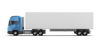 Vrachtwagen met container die op wit wordt geïsoleerde Stock Foto's