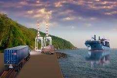 Vrachtwagen met container & schipinvoer-uitvoer Stock Afbeelding