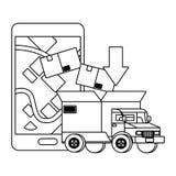 Vrachtwagen met een grote doos in de rug in zwart-wit stock illustratie