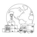 Vrachtwagen met een grote doos in de rug in zwart-wit vector illustratie