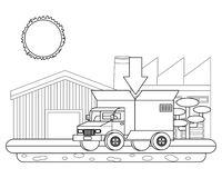 Vrachtwagen met een grote doos in de rug in zwart-wit royalty-vrije illustratie