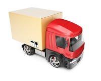 Vrachtwagen met kartondoos Stock Afbeelding