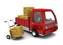 Vrachtwagen met kratten Stock Afbeelding