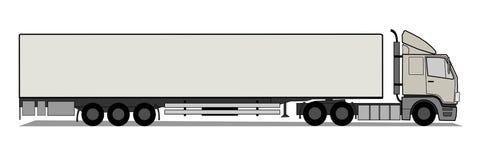 Vrachtwagen met lege aanhangwagen stock illustratie