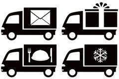 Vrachtwagen met sneeuwvlok, envelop, voedselschotel, gift BO Stock Foto's