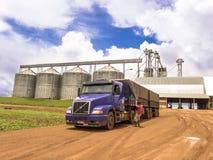 Vrachtwagen met sojabonen wordt geladen die stock foto's