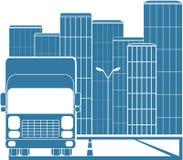 Vrachtwagen in moderne stad Stock Afbeelding