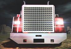 Vrachtwagen in nachten 3 D royalty-vrije illustratie