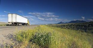 Vrachtwagen op de weg Royalty-vrije Stock Afbeeldingen