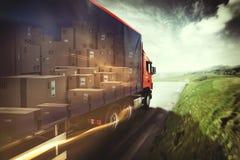 Vrachtwagen op de Weg het 3d teruggeven Royalty-vrije Stock Afbeelding