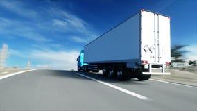 Vrachtwagen op de weg, weg Vervoer, logistiekconcept super realistische animatie met physiksmotie stock footage