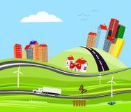Vrachtwagen op de wegstad op de heuvels, platteland, concept stock illustratie