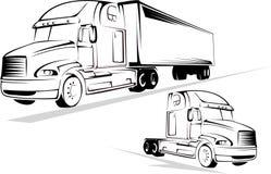 Vrachtwagen op een witte achtergrond Royalty-vrije Stock Afbeeldingen