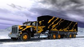 Vrachtwagen op sneeuw stock illustratie