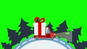 Vrachtwagen van het leverings de vlakke vervoer, bestelwagen met het pak van de giftdoos in Kerstmisvooravond stock illustratie