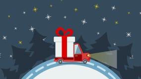 Vrachtwagen van het leverings de vlakke vervoer, bestelwagen met het pak van de giftdoos op wit in Kerstmisvooravond stock illustratie