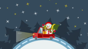 Vrachtwagen van het leverings de vlakke vervoer, bestelwagen met het pak van de giftdoos op wit in Kerstmisvooravond royalty-vrije illustratie